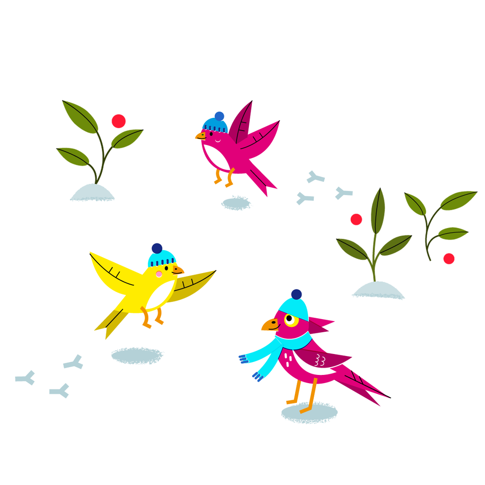 Birds in the snow - Vector Illustration © Emeline Barrea, All rights reserved