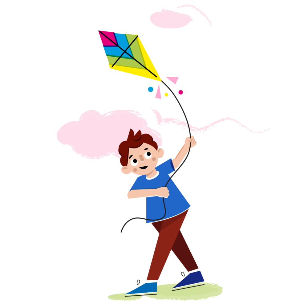 Flying kite - Vector Illustration © Emeline Barrea, All rights reserved