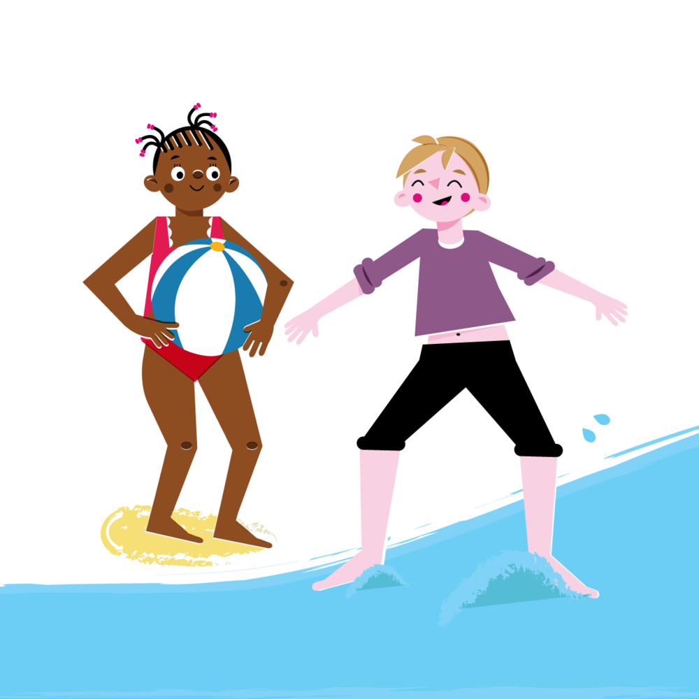 Swimming characters - Vector Illustration © Emeline Barrea, All rights reserved