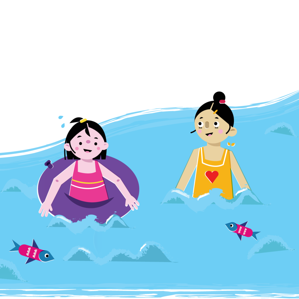 Swimming girls - Vector Illustration © Emeline Barrea, All rights reserved