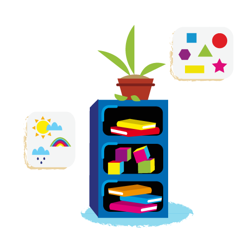 School bookcase - Vector Illustration © Emeline Barrea, All rights reserved