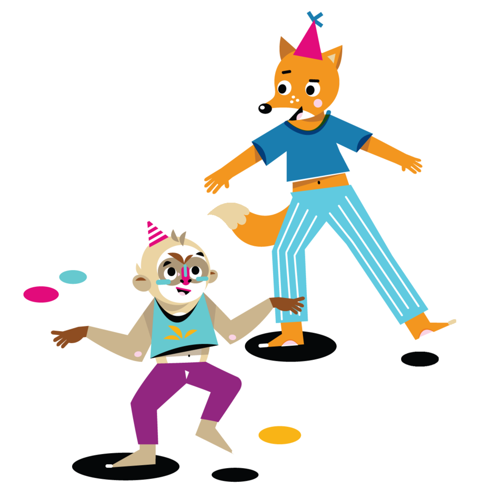 Dancing Monkey & Fox - Vector Illustration © Emeline Barrea, All rights reserved