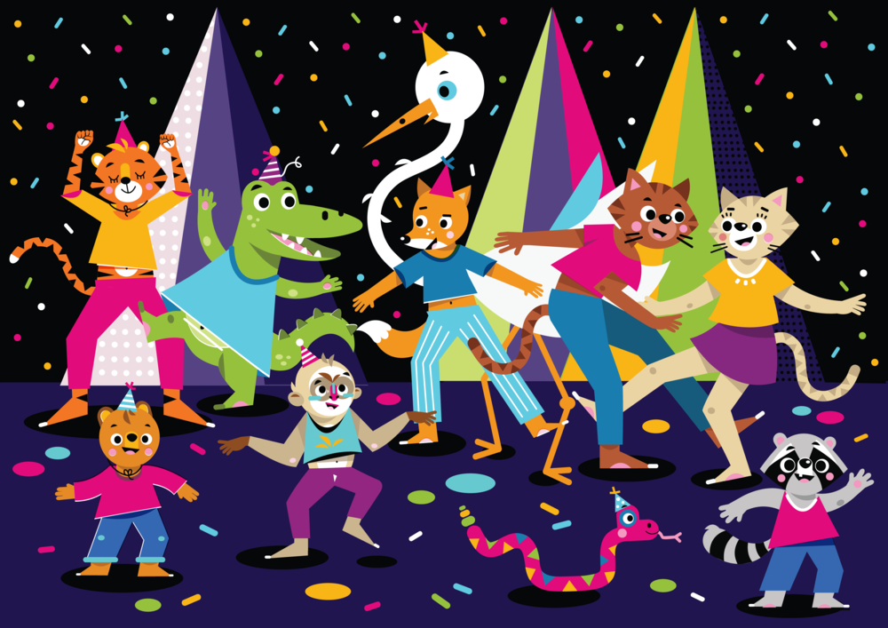 Party Animals - Vector Illustration © Emeline Barrea, All rights reserved