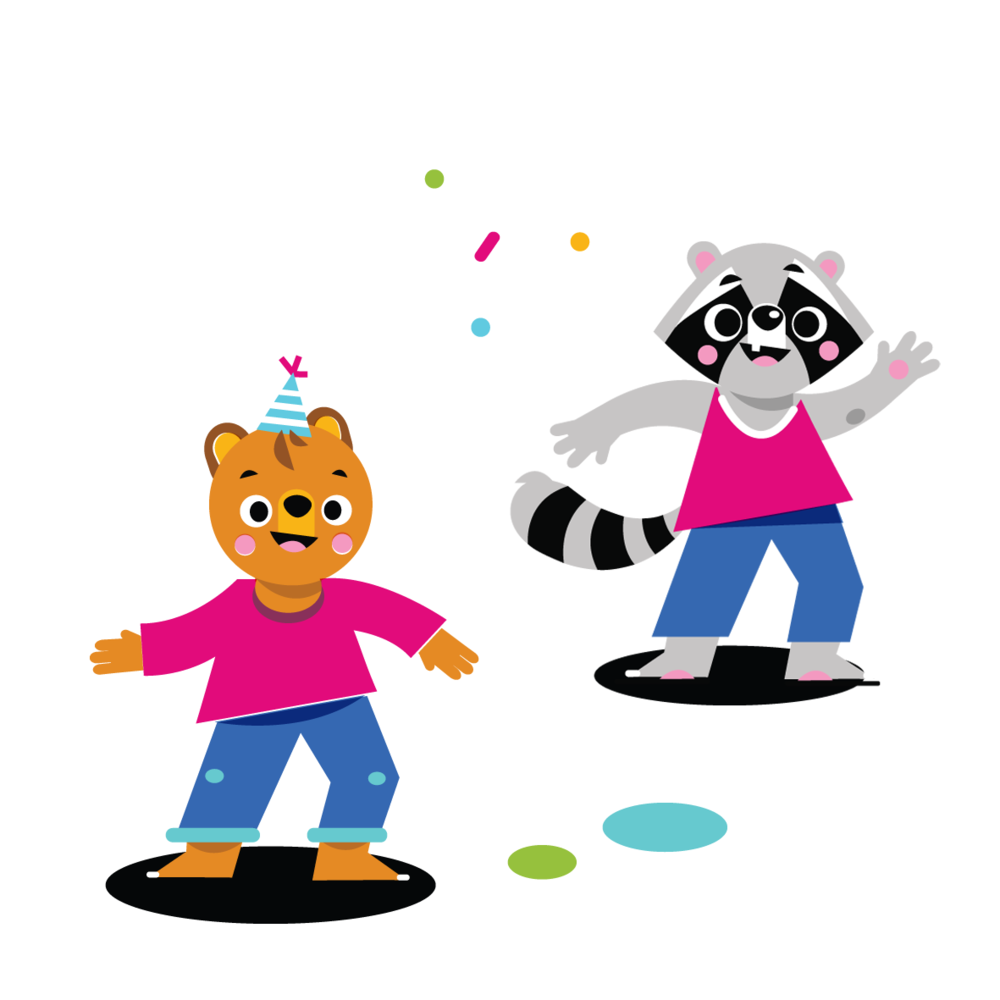 Dancing Bear cub & Racoon - Vector Illustration © Emeline Barrea, All rights reserved