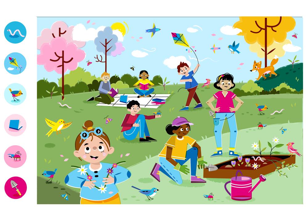 Look&Find: Spring colors! - Vector Illustration © Emeline Barrea, All rights reserved