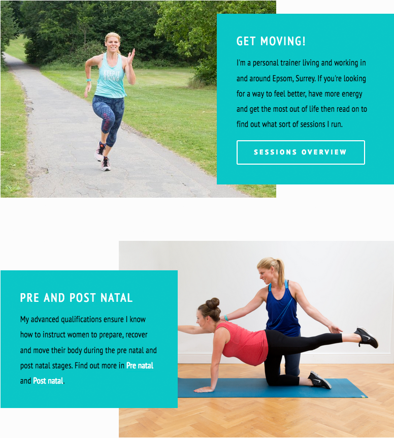 Personal trainer website graphics