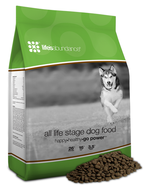 All Life Stages Dog Food - Guaranteed Omega-3's & 6's for healthy skin & coatAntioxidant system including vitamins C & ENo corn or wheat glutens, artificial colors or flavorsMade in Ohio and New YorkMade for all life stages, this recipe contains only the finest ingredients, like …• A proprietary blend of vitamins & minerals• High-quality protein from chicken meal for strong muscles• An antioxidant system including vitamins C & E• Prebiotic fiber & guaranteed probiotics• A selection of nutritious vegetables• Omega-3 fatty acids for healthy skin & a shiny coat• Calcium & phosphorus for healthy teeth and strong bones• Dietary fiber to help maintain a healthy digestive tractTo be the best dry dog food, this premium kibble contains …• No artificial flavors or colors• No corn, wheat or corn/wheat glutensFresher food is more nutrient-rich. While leading brands stockpile tons of food for months on end, our healthy dog food is made weekly in small batches. When you buy this Life's Abundance dog food, your sweet pup will benefit from our strict inventory controls and product safety considerations that are second-to-none. Put your K-9 on the path to wellness. Provide them with a recipe for a long and happy life.