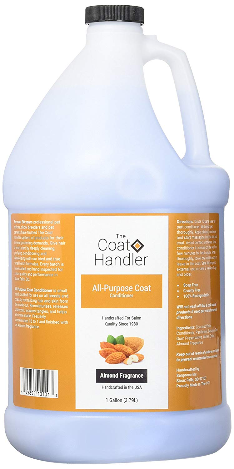 Coat Handler Conditioner - Hands down, my favorite conditioner! Used by show handlers for amazing smoothing and conditioning, this will keep your Goldendoodle and Golden Retrievers coats looking amazing and more tangle free.Small Batch Crafted, 100% Biodegradable, Soap Free and Cruelty FreeRemoisturizes, Releases Undercoat And Eliminate StaticLightweight Conditioner Can Be Used As A Leave-In Or Rinse-OutAlmond Fragrance, Concentrated 15 to 1Used By Professional Pet Stylists And Show Breeders For Over 30 Years