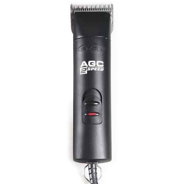 Andis Clippers - The Andis AGC 2-Speed Clipper is designed for cool, comfortable cutting. The cool-running, maintenance-free motor operates at two speeds, for easy cutting on all coat types.Lightweight, rounded, ergonomic handpiece reduces fatigueRuns cool so fans and air vents that can become clogged with hair are not neededBreak resistant nylon housing withstands harsh chemicalsEach clipper features break-resistant nylon housing, a locking blade hinge, and a removable drive cap for easy cleaning. Comes with a #10 blade and blade oil.