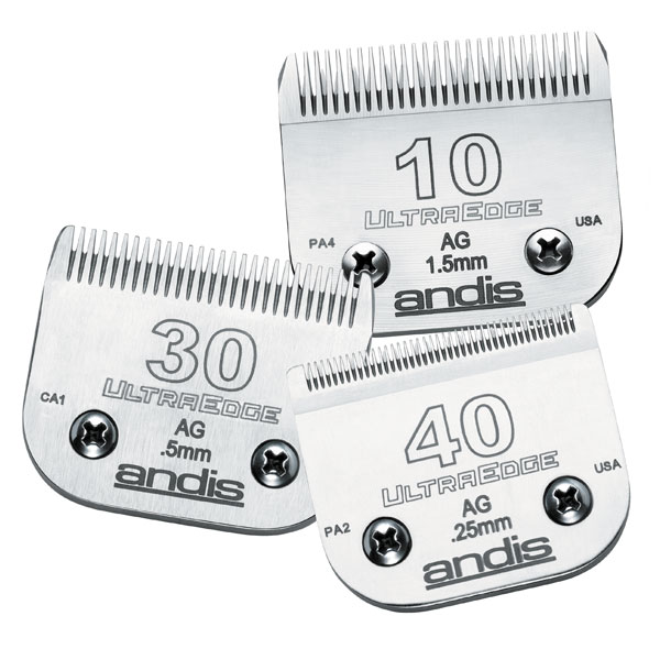 - Andis® UltraEdge™ Clipper Blades are made from high-carbon steel and processed through a unique carburizing heat treatment that actually adds carbon to the metal. More carbon on the metal means a harder cutting surface. Blades hold a razor sharp edge that will endure prolonged use and more sharpening treatments.Each Andis Ultra Edge dog clipper blade is sharpened to exact quality standardsHand-tested before it is shippedBlades have a Rockwell Hardness rating of 65Size 50SS Blade has a 1/125