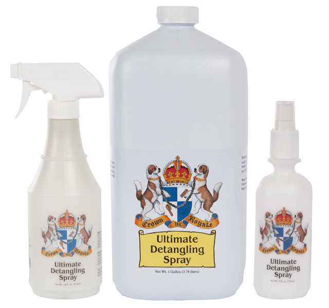 Show Handlers De-Tangling Spray - Crown Royale Ultimate Detangling Spray is unique, easy-to-use spray that removes tangles from a wet or dry coat. Formulated to help prevent staining, repel dirt and urine, and keep coat clean longer while removing tangles.For use on dogs, cats and horsesReady to UseWorks on both wet and dry coatsPrevents stainingRepels dirt and urineLengthen time between shampoosMade in the USA