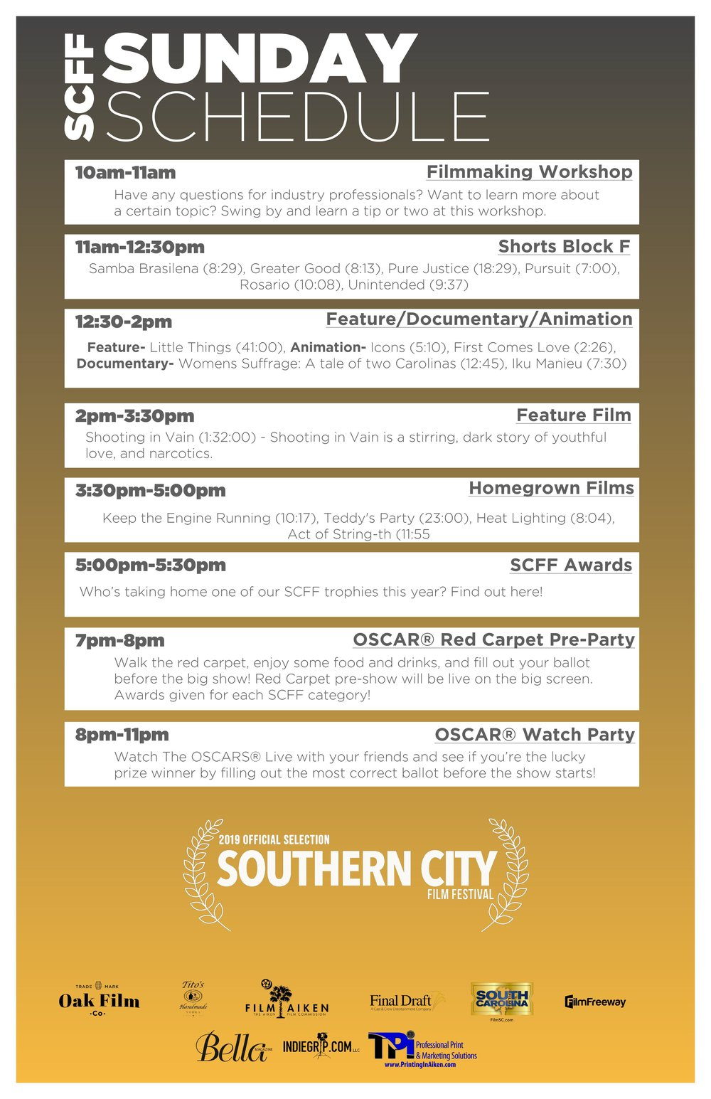Sunday Feb 24th - Day 3: The films aren't over yet, we have some great features, documentaries, animation, shorts, and homegrown films today!And you don't want to miss the OSCARS® Watch Party tonight!