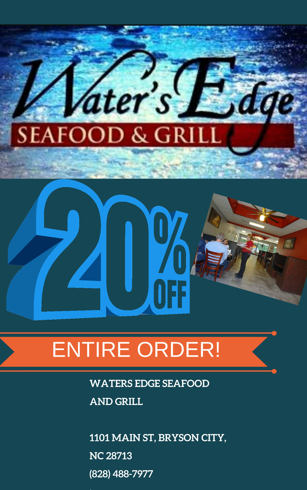 Waters Edge Seafood and Grill 20% OFF Order
