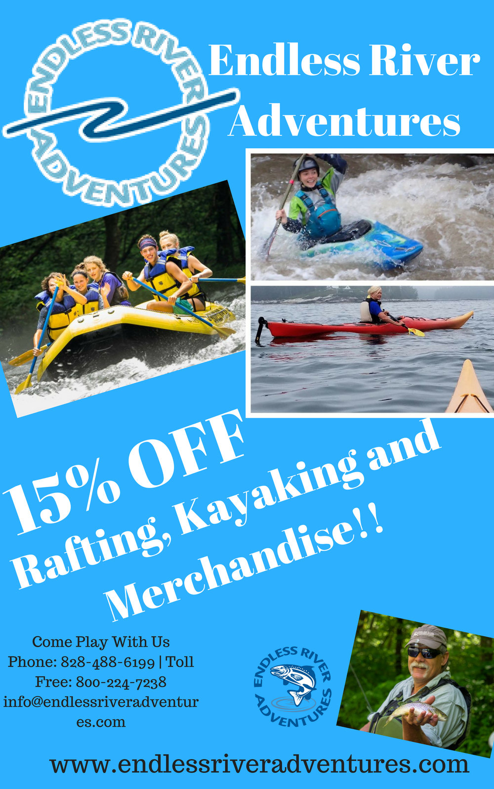 15% OFF Rafting, Kayaking and Merchandise!