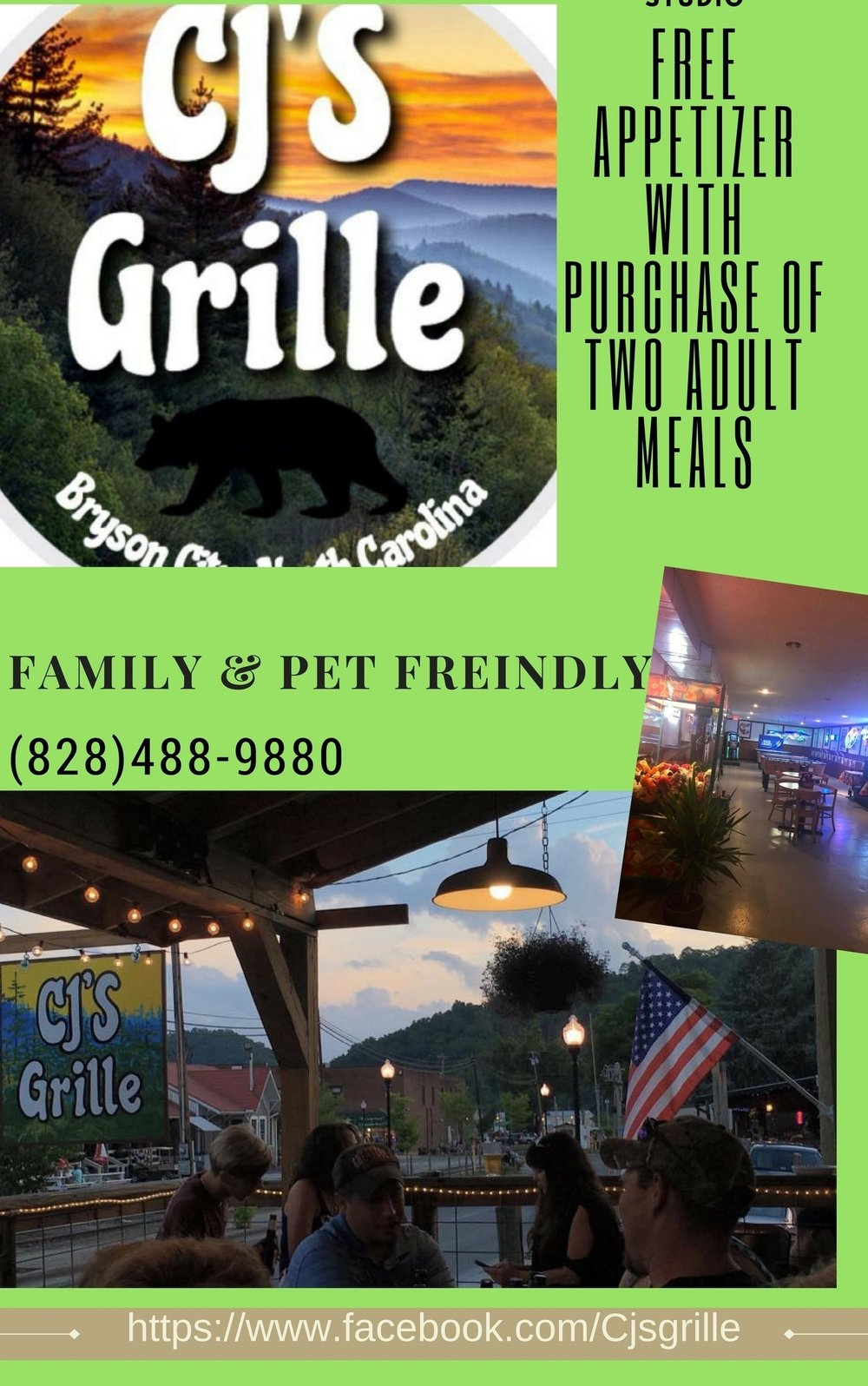 CJ's Grille. FREE appetizer with purchase of two adult meals