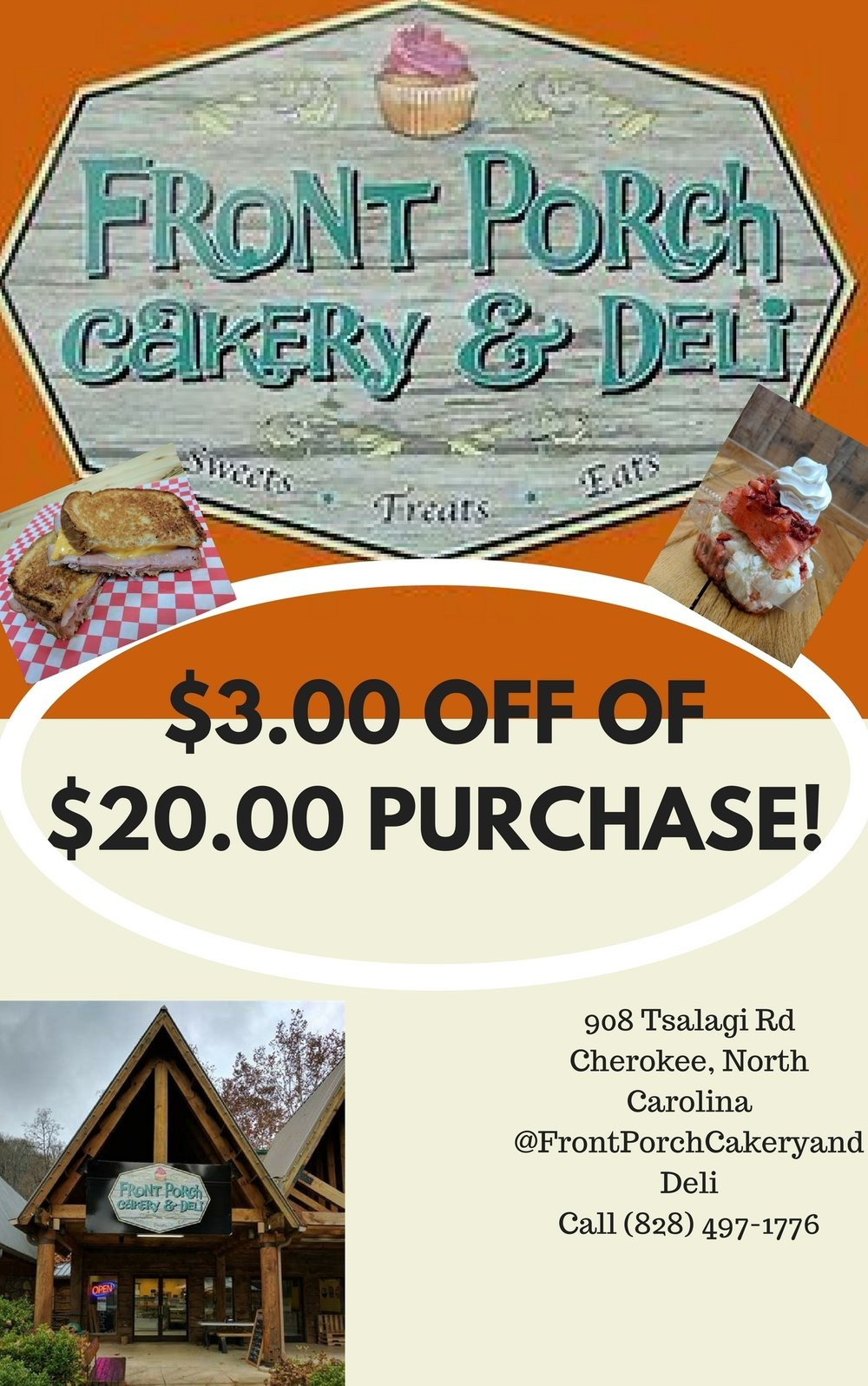 Front Porch Cakery & Deli $3 OFF $20 purchase