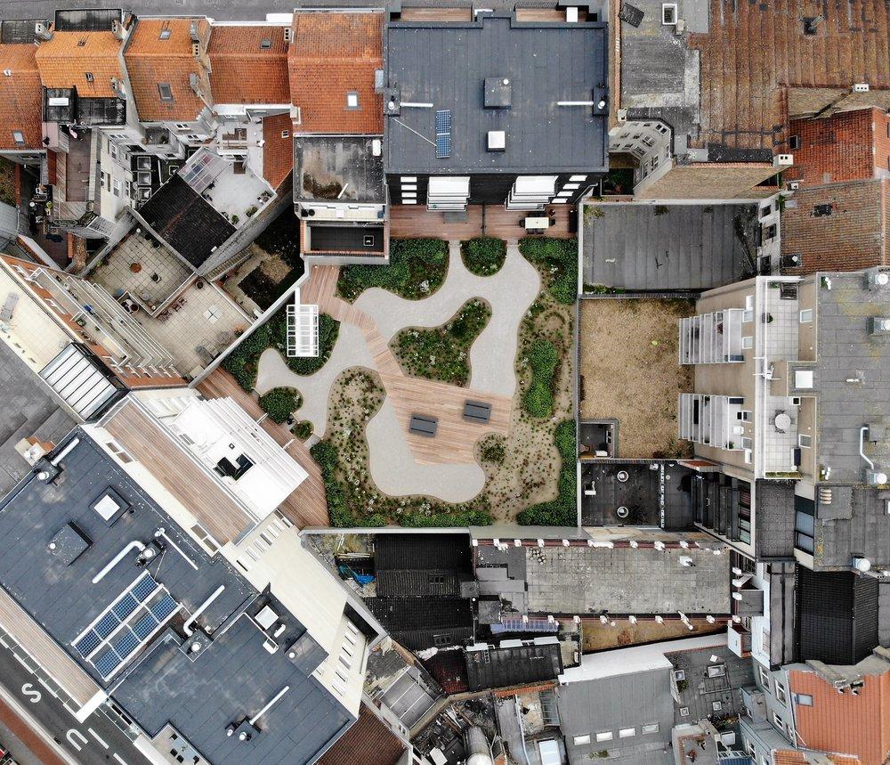 Ce jardin de toit magnifique est une coopération avec Tuinen Monbaliu. C'est réalisé sur une cinquantaine garages, en pleine d'un quartier à Oostende. La valeur ajoutée pour les résidents va de soi!