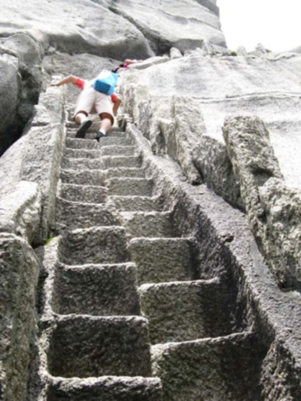 Some of the stone steps were so narrow that only 1 person could get through.