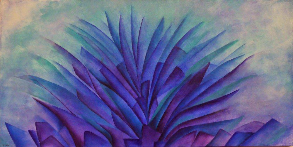 Agave Azul Mixta/Tela  60 x 120 cm