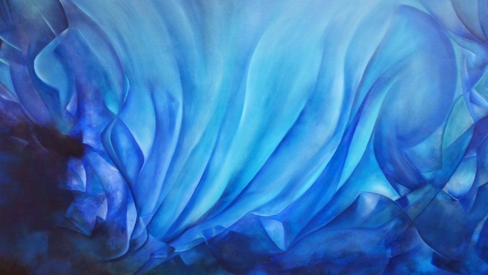 Destilando Azul Mixta/Tela  100 x 180 cm