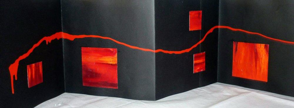 HERIDAS  Oleo/tela, carton, hojalata y espejo  24 x 24 cm cerrado  24 x 144 cm abierto