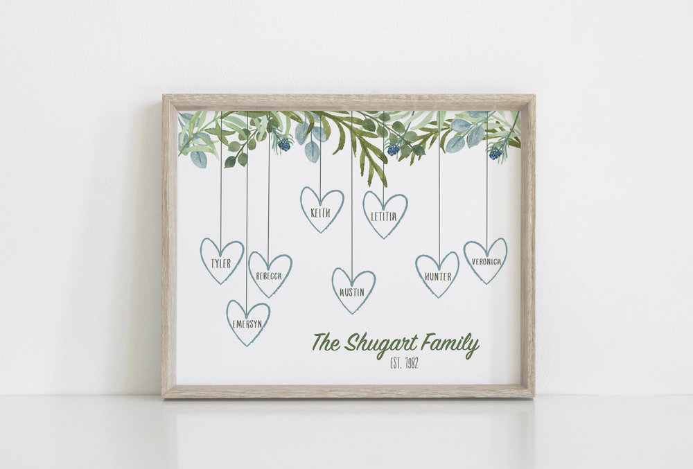 8x10 Watercolor Family Tree Print