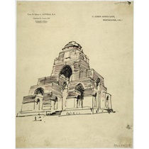 RIBA70367  A record sketch of the unexecuted design for the Memorial to the Missing at St Quentin, Nord