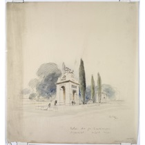 RIBA39606  Design for Southampton war memorial, Southampton: sketched perspective