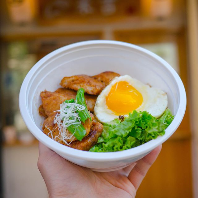 We just launched our #donburi recently 🍚 Today we made #Tsukune donburi 🍗+🍚 * Can you guess what ingredients are included? * *hint: we are using two pieces of chicken patties 😋