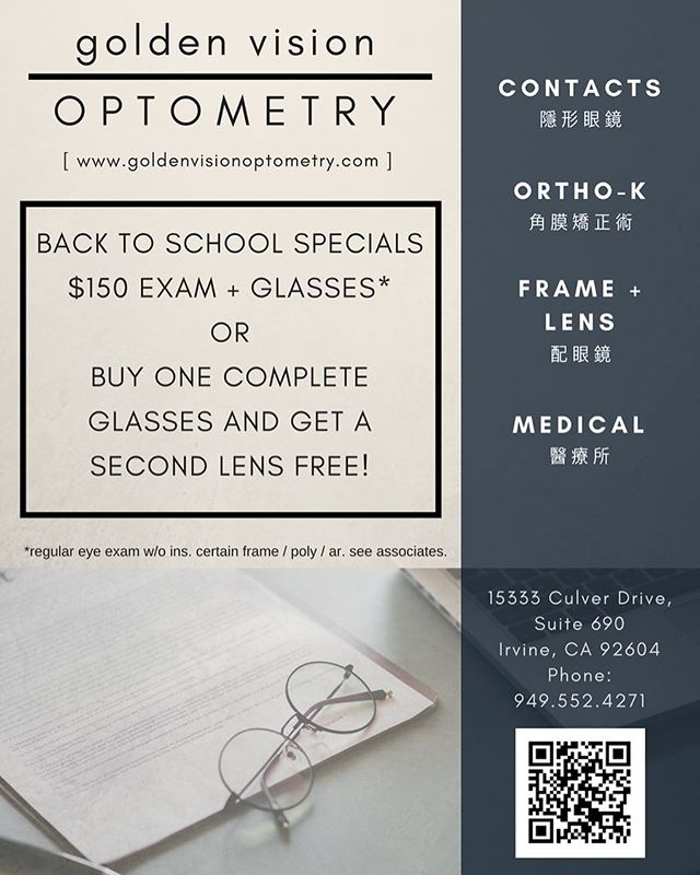 Back to school specials! @goldenvisionoptometry