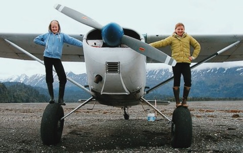 "Isabel Beach (r) and her friend Callie, at age 12. ""We had just gone clamming. Her dad is a spotter pilot. So he flies around and finds schools of herring and then directs boats to their location."" Homer, Alaska. 2010."