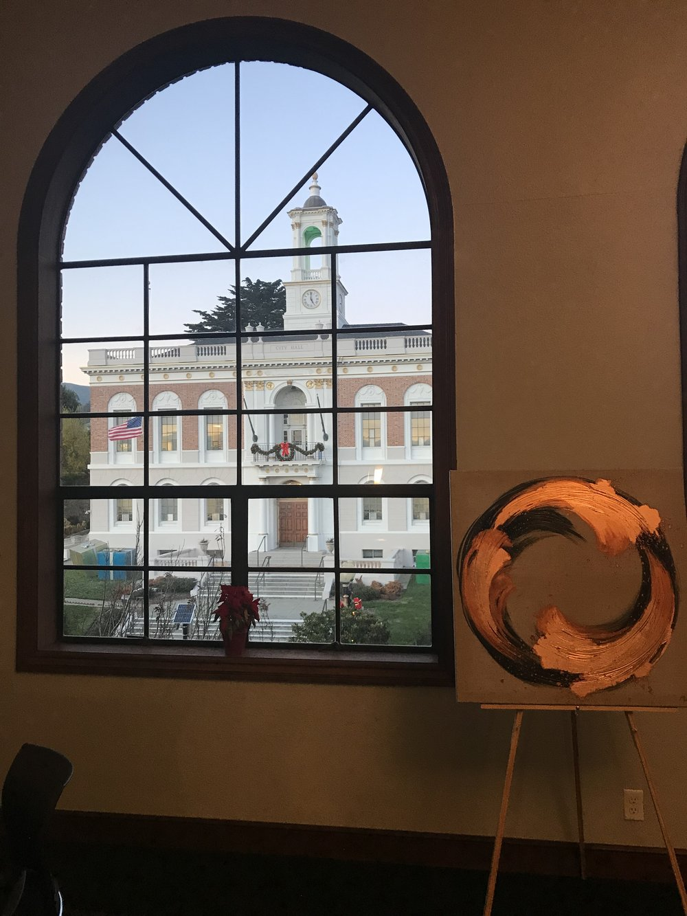 South San Francisco City Hall as seen from the San Francisco Wine School.  Artwork by Melissa Mahoney.