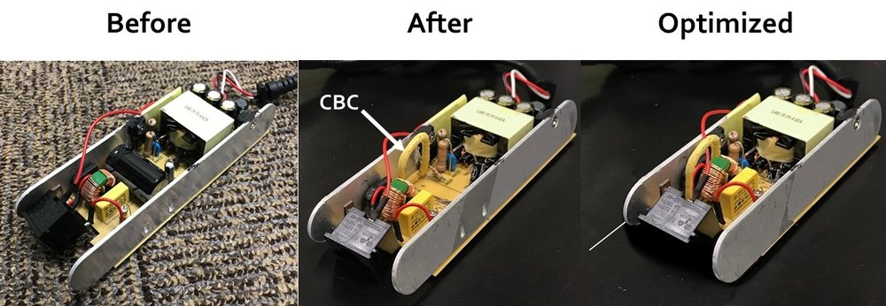 "The CBC being used to reduce a Dell laptop charger by ~2"" by replacing the traditional electrolytic capacitor initially specified"