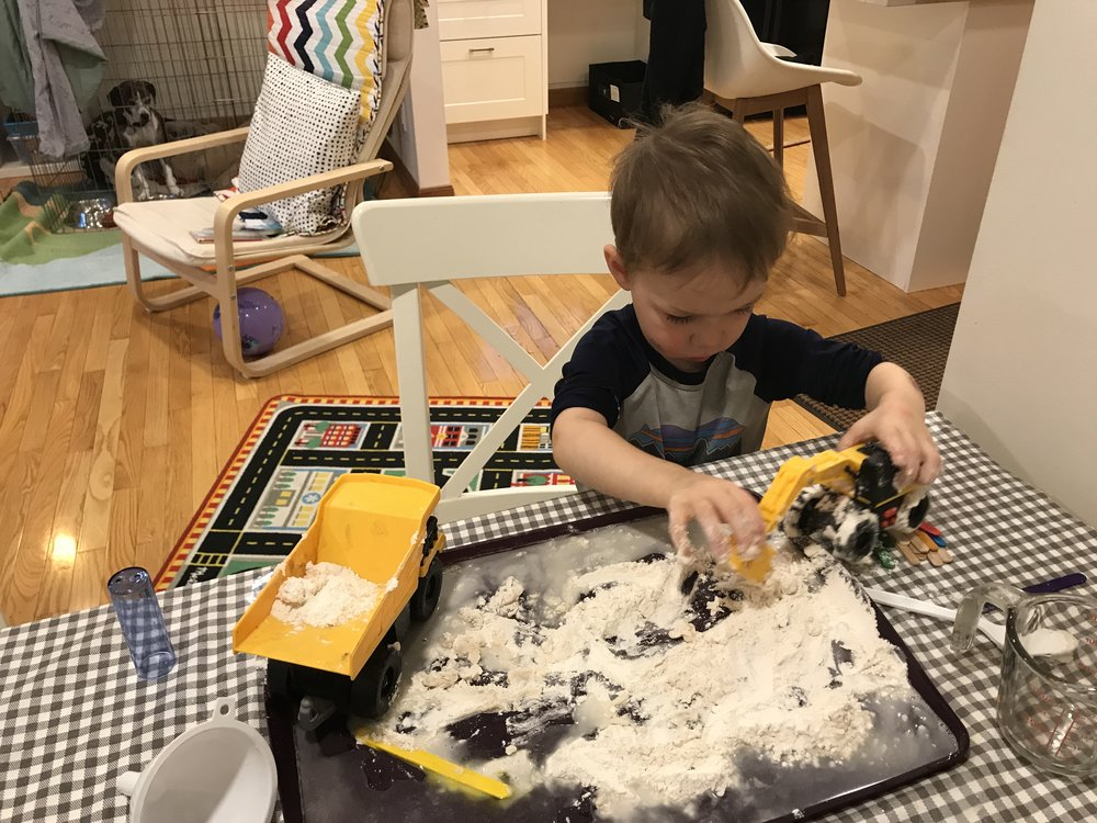 This fun project got thrown on the floor when he decided he was done. Grrr…