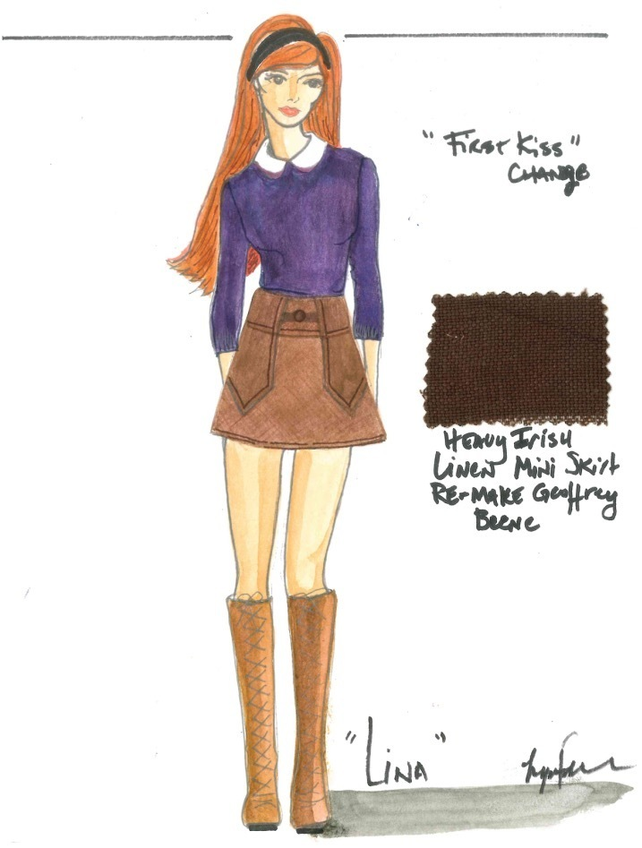 """Costume Sketch for 1960s teen """"first kiss"""" outfit for Ouija Origins of evil, designed by Lynn Falconer"""