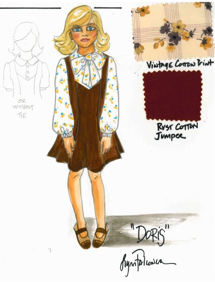 Costume Design Sketch of 1960s girls jumper for Ouija Origins of Evil designed by Lynn Falconer