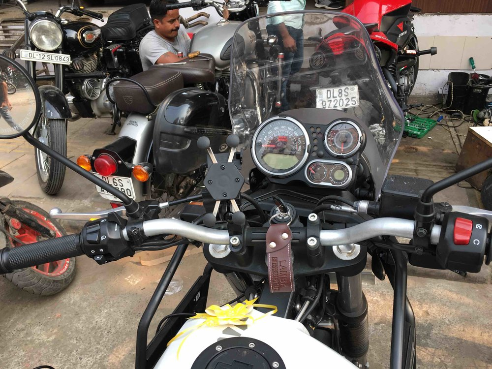 Phone holder installed on Royal Enfield Himalayan 2018