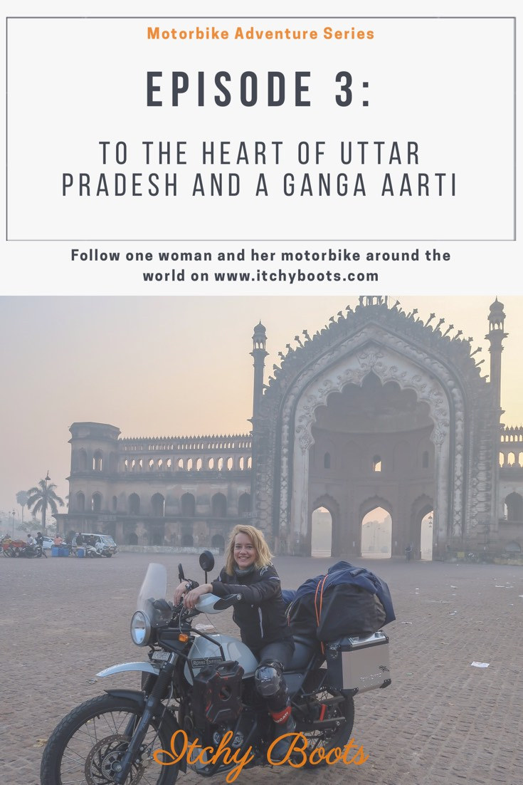 Riding a motorbike from Lucknow to the holy city of Varanasi, India - to attend a Ganga Aarti.