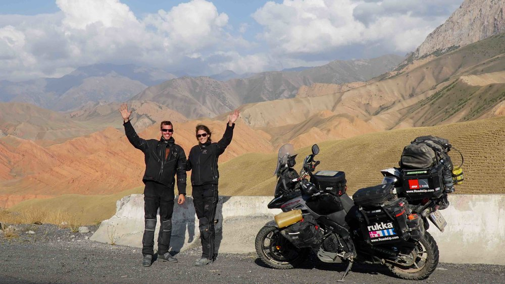 Peter & Claudia with their Suzuki V-Strom 1000 in Kyrgyzstan