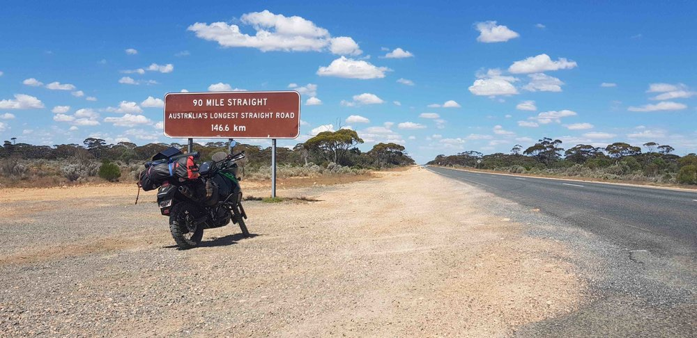 Riding the typical long stretches of Australian road