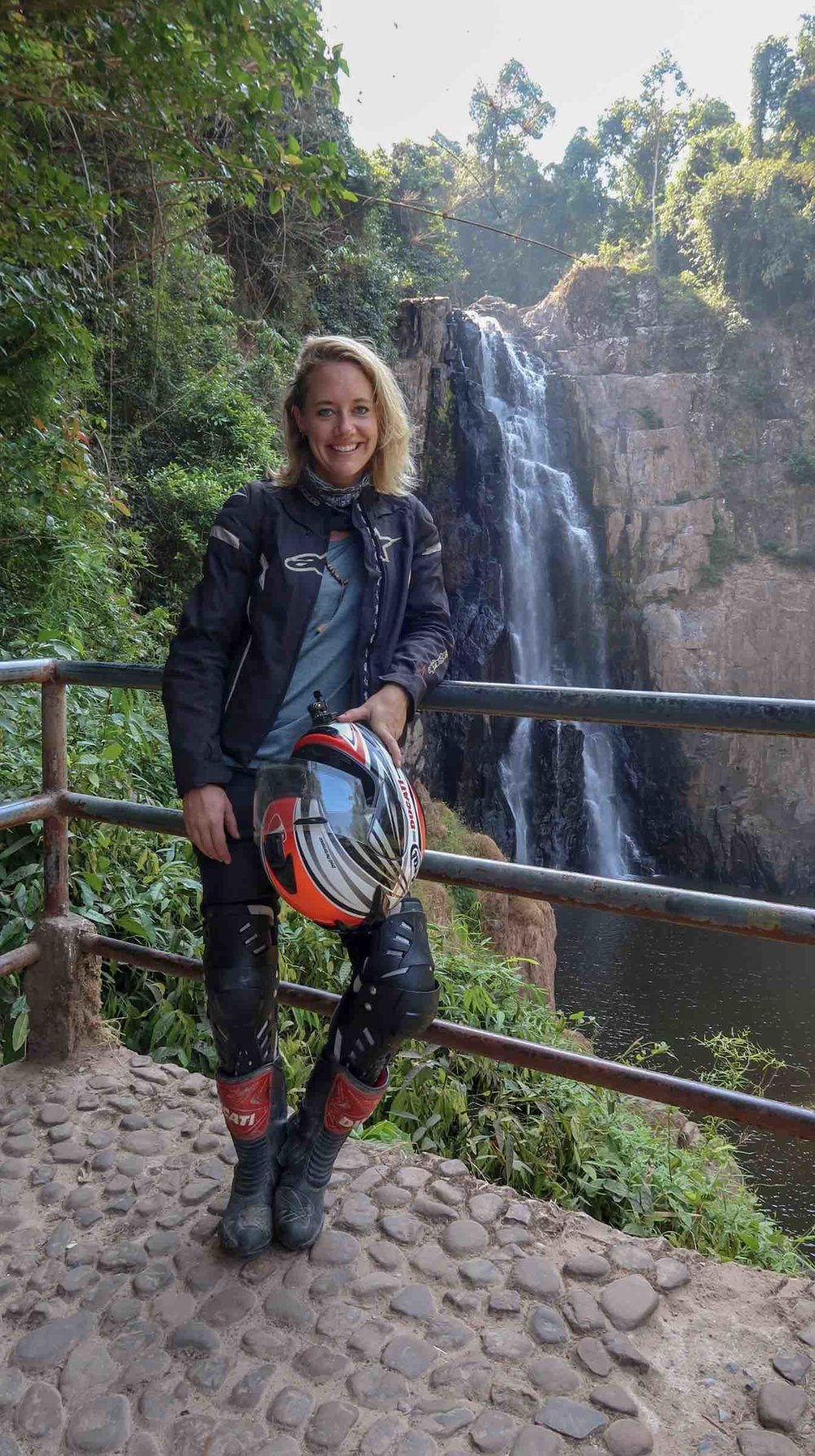 Hiking to the Haew narok waterfall in full riding gear…