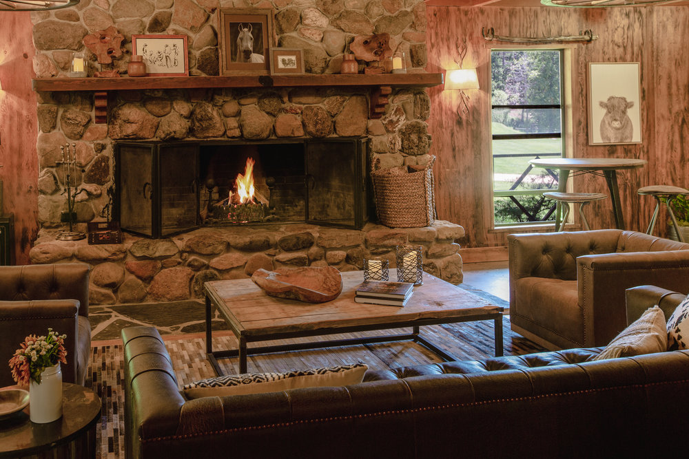 Greenhorn Ranch Fireplace in our lodge