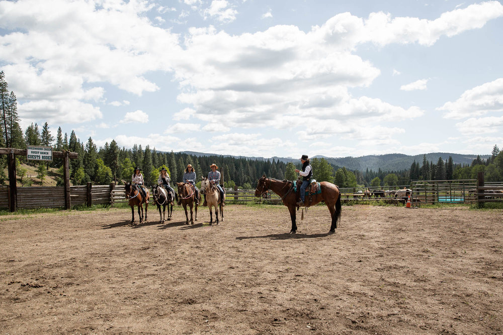 Family horseback riding at Greenhorn Ranch