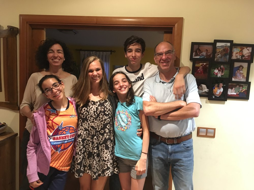 Katy and her Spanish family who she lived and worked with teaching English for a year in Madrid, Spain.