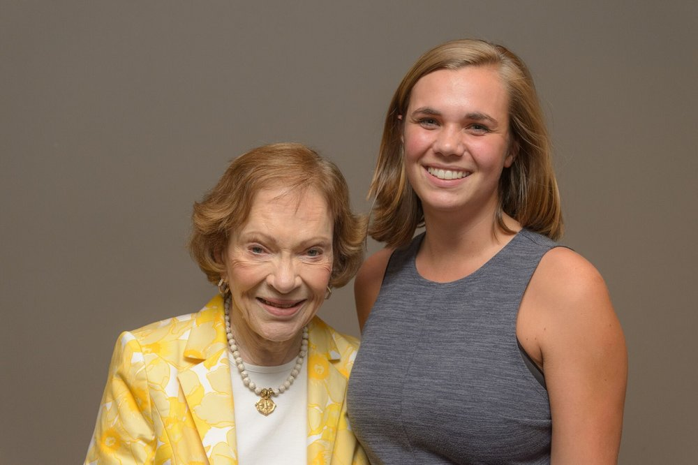 Katy and Rosalynn Carter at an event at the Carter Center.