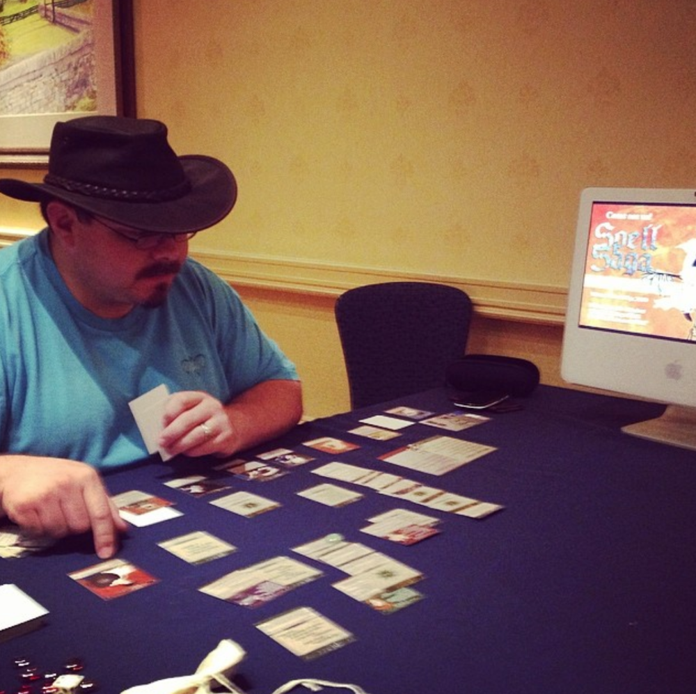 2014 Paxson of Ashgarden plays a round of Spell Saga at the game's second public outing.