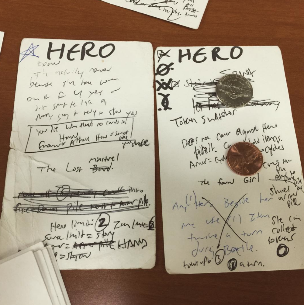 2015 rwPSAR prototype HERO cards during a play test game