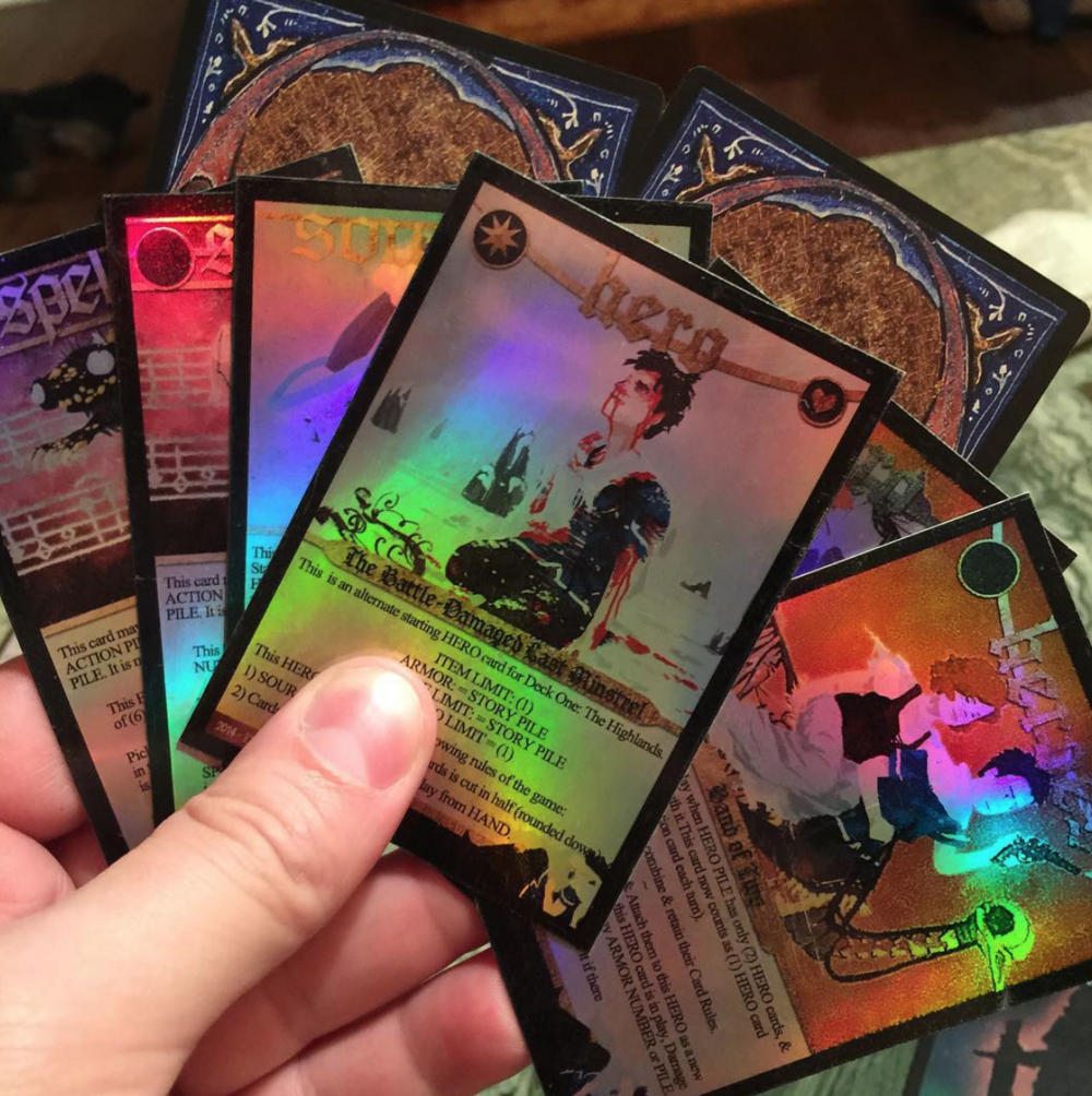 2015 Todd holds the final holofoil test cards