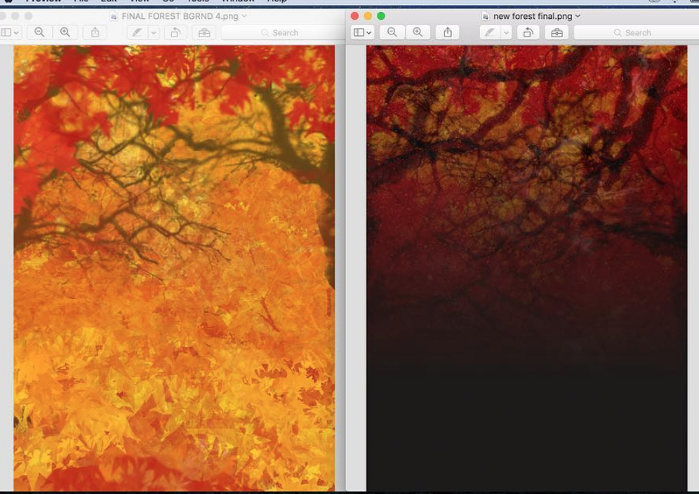 2017 screenshot showcasing difference between 2013/2014 & 2017 background art for Deck 2 ~ The Forest ITEM cards