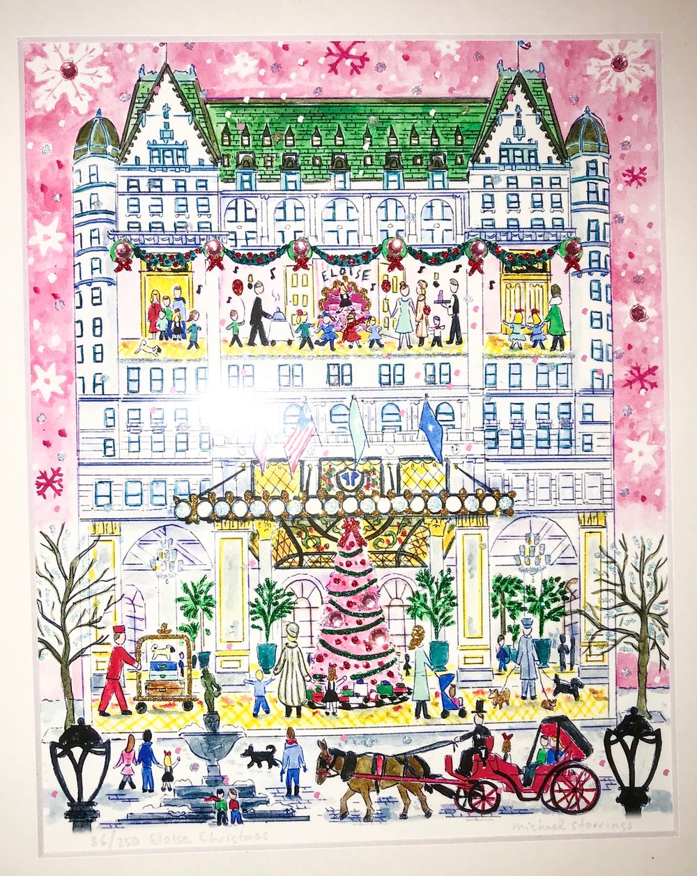 Michael stirrings does an Eloise print every year, and this is his print from 2018 of the Eloise Suite at Christmas!